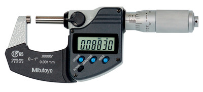 ASDQMS Mitutoyo 293-335-30 Coolant Proof IP65 Micrometer with Ratchet Friction Thimble