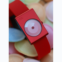 itoc handless timepiece with red case and red strap