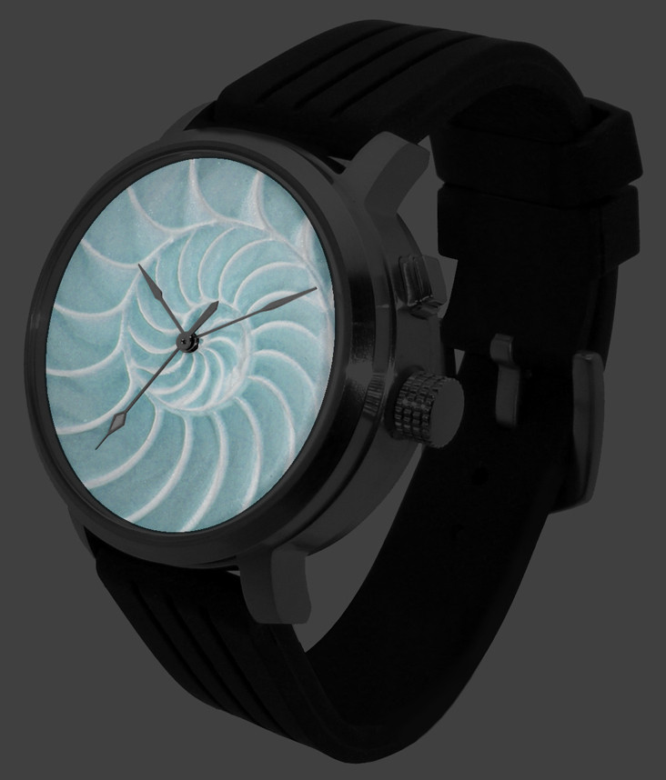 Watch with after-glo effect (glo effect from LED light or any other light source)