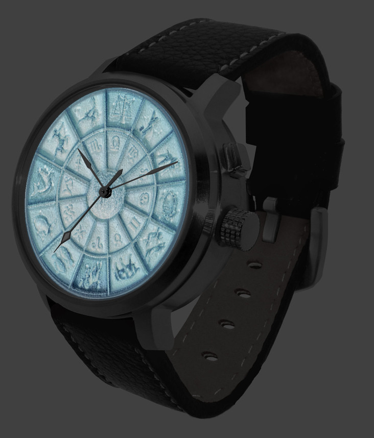Watch with LED back-light activated for 3-D dial effect