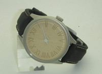 "ROMAN - Sculpted ""stone"" dial 42mm steel single hand watch"