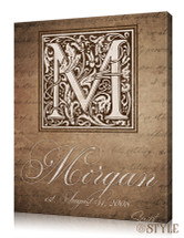 Family name canvas with monogram, Brown
