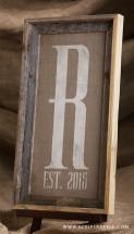 burlap monogram established sign