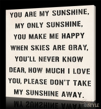 You are my sunshine canvas wall art