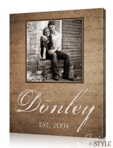 Personalized family name canvas with photo, Brown