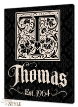 Vintage family name canvas, Black/Cream
