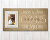 wood family name sign with picture frame