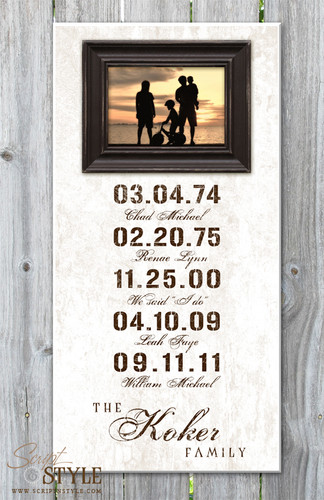 Personalized special dates picture frame, White