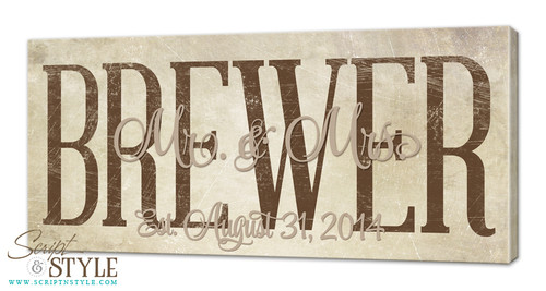Personalized family established canvas