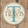 Chevron family name sign/Cream-Turquosie