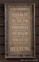 burlap important dates sign