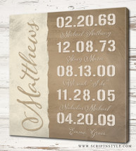 personalized special dates family sign