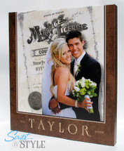 Wedding photo & marriage license canvas print wall art