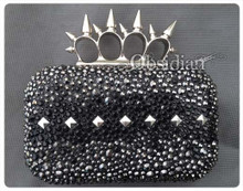 Swarovski Pyramid Spiked Knuckle Clutch