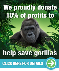 We proudly donate 10% of profits to help save gorillas