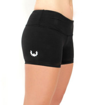 WOD Gear Black Wide Waistband Booty Shorts - Front