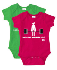 "Born to WOD | ""Does Your Mom Even Lift"" Baby Onesie"
