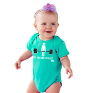 "Born to WOD | ""Does Your Aunt Even Lift"" Baby Onesie - Front"