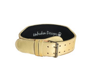 """Unbroken Designs - The Games Gold 4"""" Weightlifting Belt - Front (dual-pronged)"""