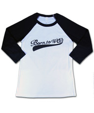 Born to WOD | Baseball 3/4 Sleeve - B&W Unisex Shirt - Front