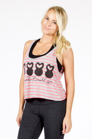 Belle&Bell | Four Belles - Stripped Boxy Tank - Pink/Grey