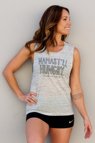Belle&Bell | Namast'll Hungry - Muscle Tank - White Marble