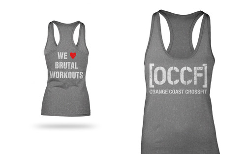 Orange Coast CrossFit OCCF | I Heart Brutal Workouts Logo Tank - Gray