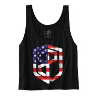 Born Primitive | Flowy Crop Tank with USA Logo - Black