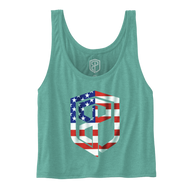 Born Primitive | Flowy Crop Tank with USA Logo - Teal