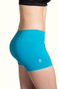 WOD Gear Wide Waistband Booty Shorts - Turquoise Side