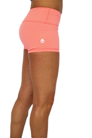 WOD Gear | Wide Waistband Booty Shorts - Coral