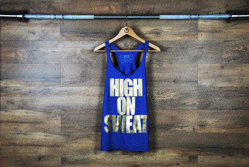 "Nefrin Apparel | Women's ""HIGH ON SWEAT"" Tank - Blue"