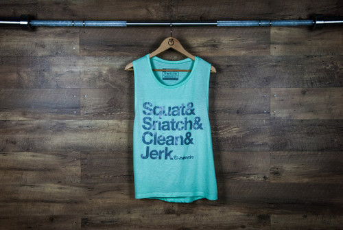 "Nefrin Apparel | Women's ""squat&snatch&clean&jerk"" Muscle Tank - Mint/Grey"