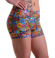 Functional Apparel Booty Shorts - Hippy Flower Shorts Side