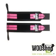 "Schiek Sports | 12"" Velcro Wrist Wraps - Model 1112, Black/Pink"