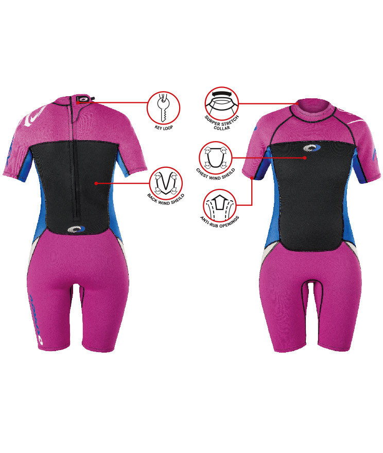OSPREY GIRLS ORIGIN 3/2MM SHORTY WETSUIT PINK & BLUE