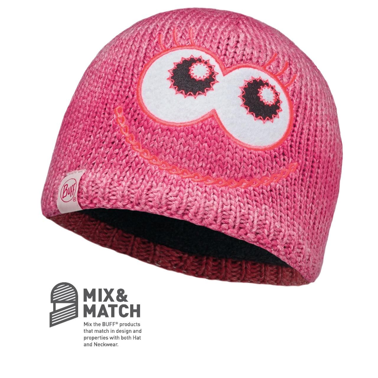 Buff Kids Monster Knitted & Polar Fleece Hat Merry Pink/Raspberry