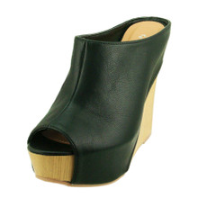 Qupid Leatherette Mule Wedge Sandal