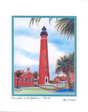 "11""x14"" Ponce Inlet Lighthouse Watercolor Print by Pam E. Webb"