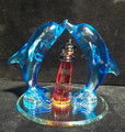 Glass Lighthouse with Two Dolphins
