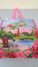 A beautiful pink shopping tote for beach or shopping.