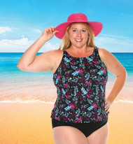 T.H.E. 32-60-745 High Neck Tankini Mastectomy Swim Top