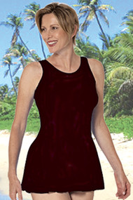 Jodee 1447 Solid Black Mastectomy Swimdress