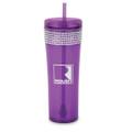 Roush Purple Square R Rhinestone Tumbler w/ Straw (3393)