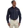 Roush Mens Navy Poplin Long Sleeve Dress Shirt (3631)