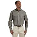 Roush Mens Gray Poplin Long Sleeve Dress Shirt (3632)