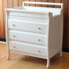 White Wooden Sleigh Baby Changing Table with 3 Chest of Drawers and Pad