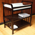 Walnut Wooden Sleigh 3 Tier Baby Change Table and Pad