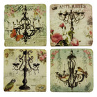 Set 4 French Country Shabby Chic Resin Marble Look Chandelier Coasters