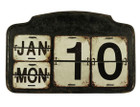 Vintage Rustic Cream Metal Desk Calendar